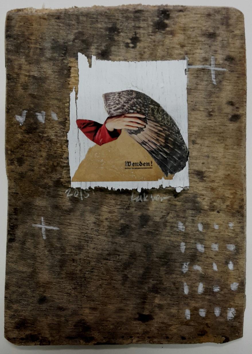 Susanna Lakner, Collage auf Holz (Deutschland)